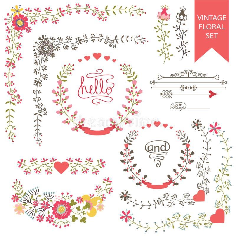 欢乐花卉集合 框架,花,丝带,小插图 库存例证