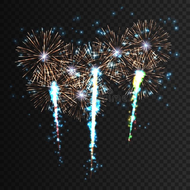 欢乐被仿造的烟花爆炸以各种各样的反对被隔绝的黑色的形状闪耀的图表收藏 向量例证