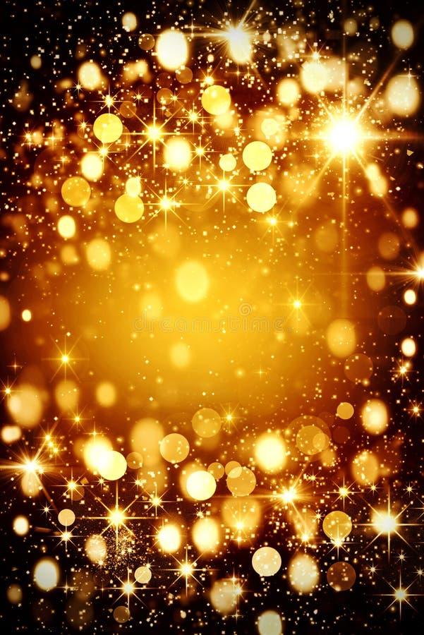 欢乐金bokeh背景,发火焰,乐趣,生日,圣诞节 皇族释放例证
