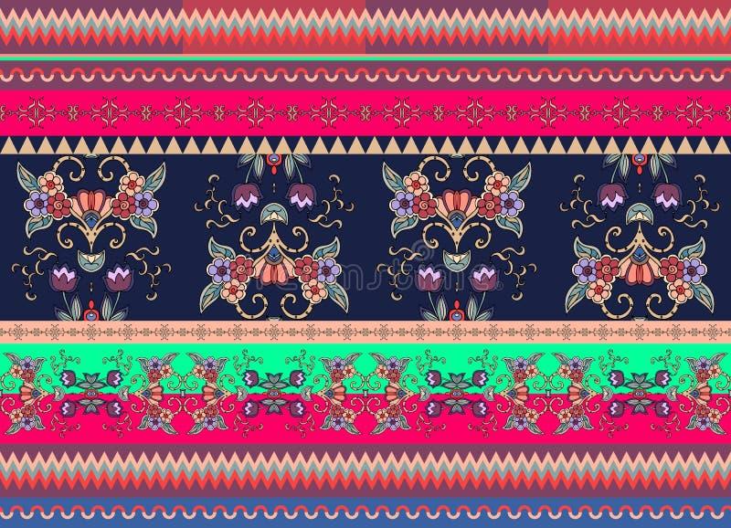 欢乐镶边装饰背景 花卉无缝的种族样式 库存例证