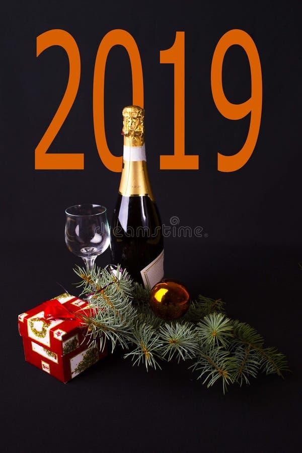 欢乐集合新年2019年 免版税库存图片