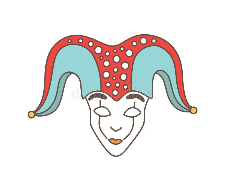 欢乐面具供人潮笑者、丑角、诈欺者,丑角或者滑稽可笑隔绝在白色背景 传统装饰为 库存例证