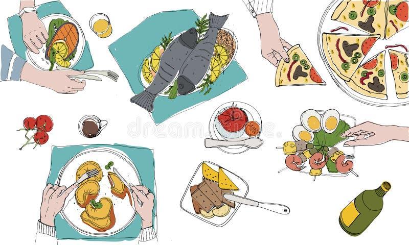 欢乐tableful,被摆的桌子,假日手拉的五颜六色的例证,顶视图 向量例证