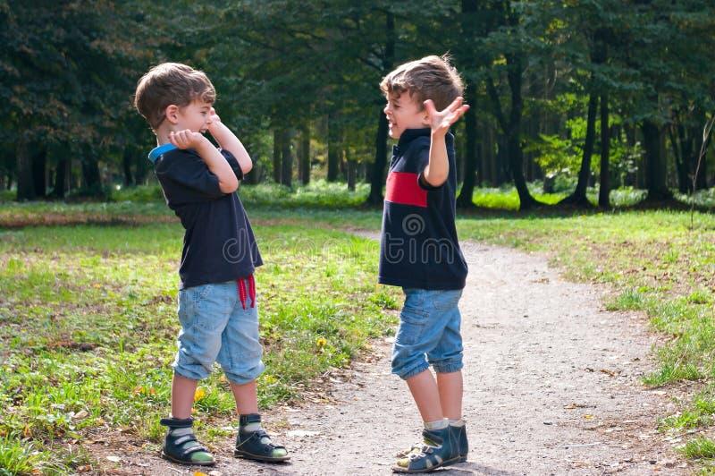 欢呼在森林的同卵双生兄弟落后 免版税库存图片