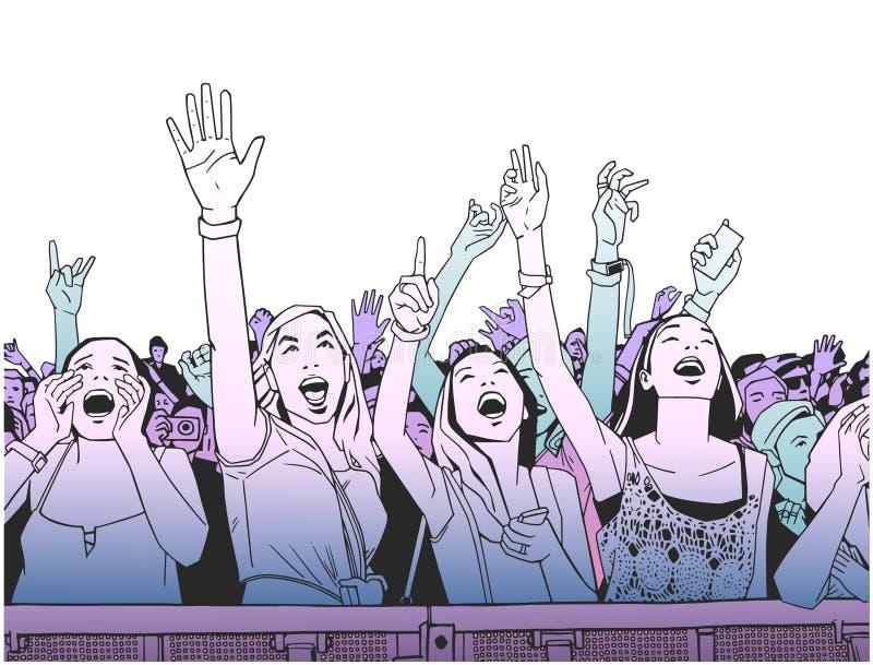 欢呼在音乐会的节日人群的例证 库存例证