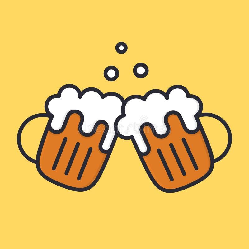 欢呼有泡沫和泡影的啤酒杯 动画片酒精象 传染媒介平的illustation 皇族释放例证