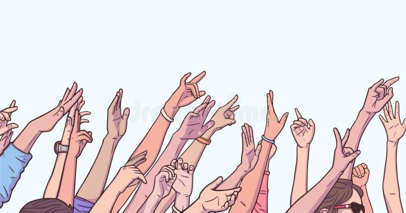 欢呼用被举的手的人群的例证在音乐节 皇族释放例证