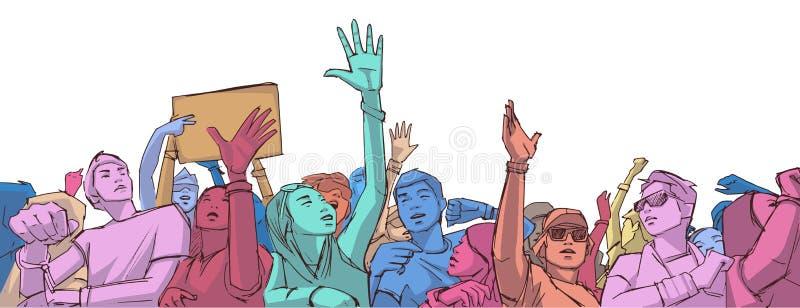 欢呼用被举的手的混杂的种族人群的例证在音乐节 向量例证