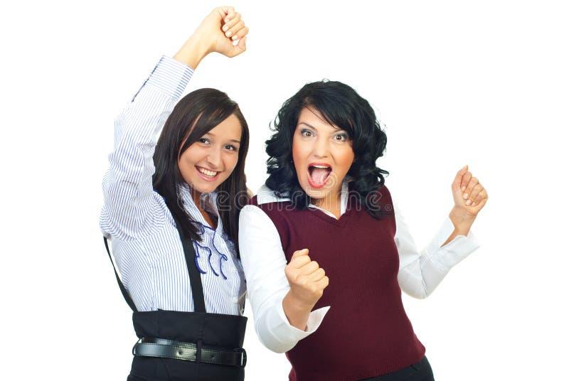 欢呼的妇女 免版税库存照片