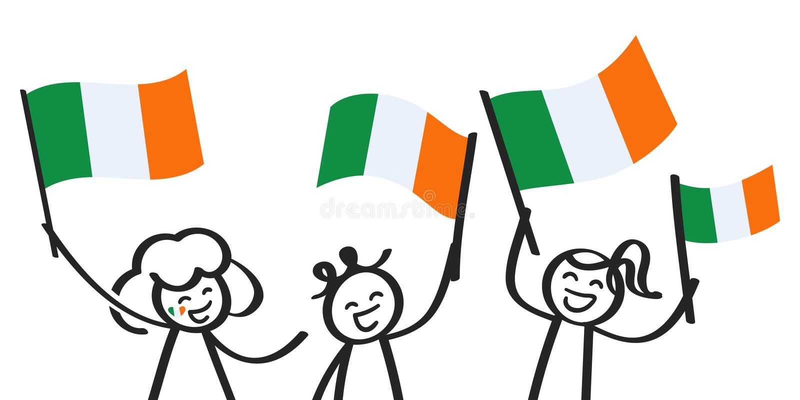欢呼的小组与爱尔兰国旗,微笑的爱尔兰支持者,体育迷的三个愉快的棍子形象 皇族释放例证