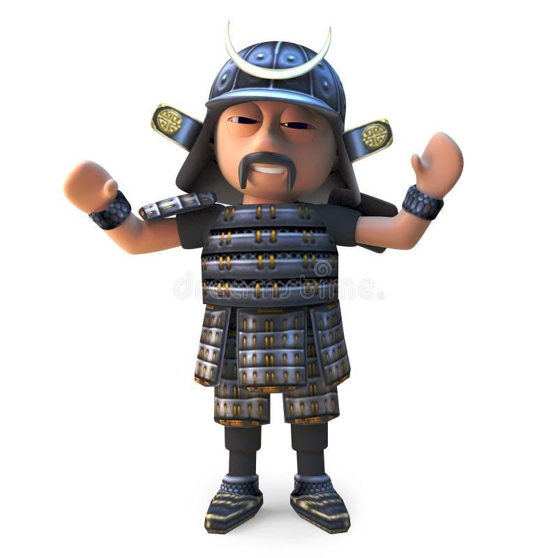 欢呼的高尚的日本武士战士,3d例证 向量例证