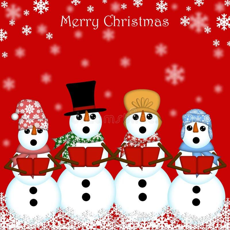 欢唱圣诞节红色唱歌的雪人 向量例证
