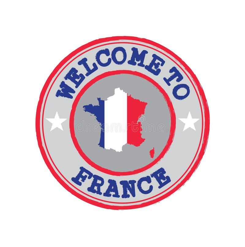 欢迎传染媒介邮票向有国家旗子的法国在地图概述在中心 皇族释放例证