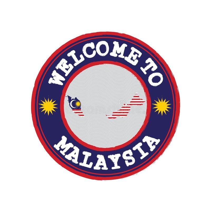 欢迎传染媒介邮票向有国家旗子的马来西亚在地图概述在中心 皇族释放例证