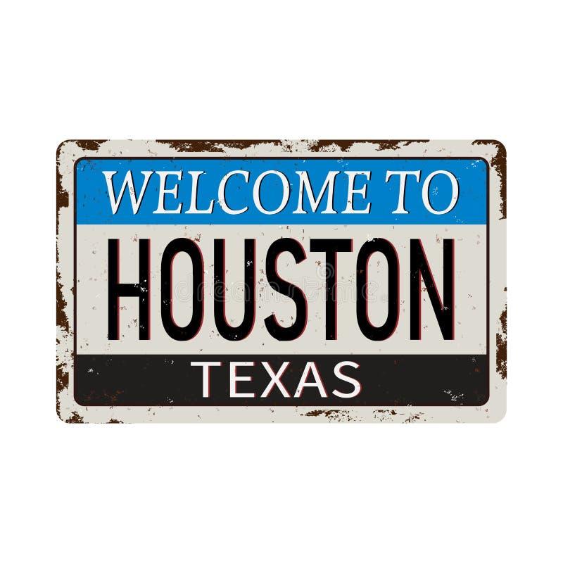 欢迎光临休斯敦得克萨斯-传染媒介例证-葡萄酒生锈的金属标志 库存例证