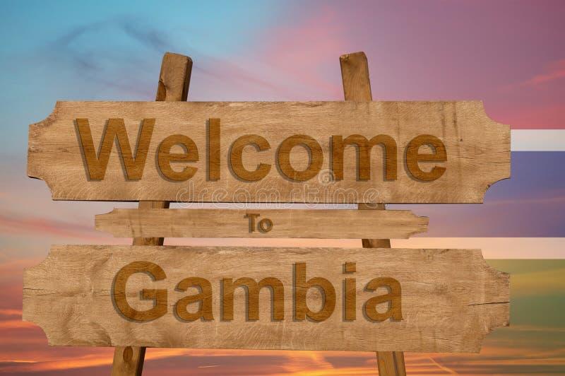 欢迎光临冈比亚在与混和国旗的木背景唱歌 向量例证