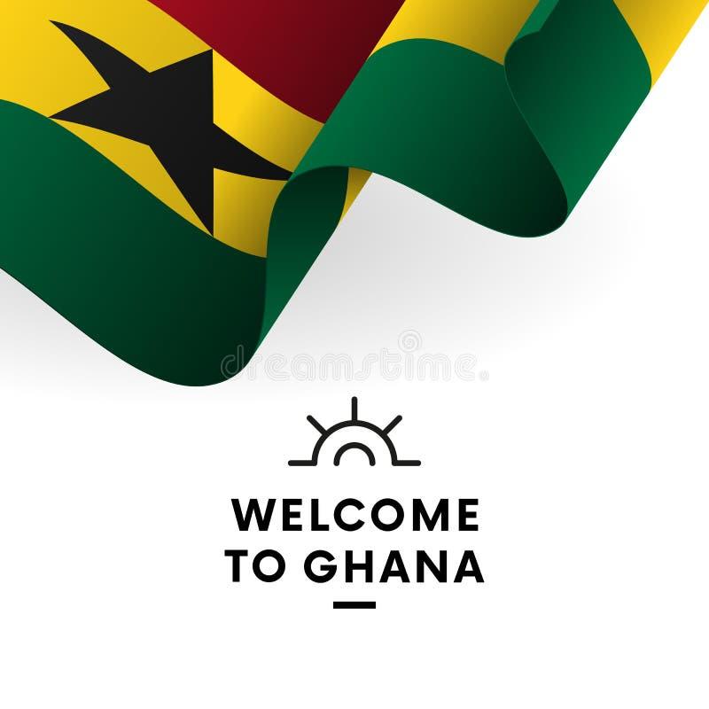 欢迎光临加纳 加纳旗子 爱国设计 也corel凹道例证向量 库存例证