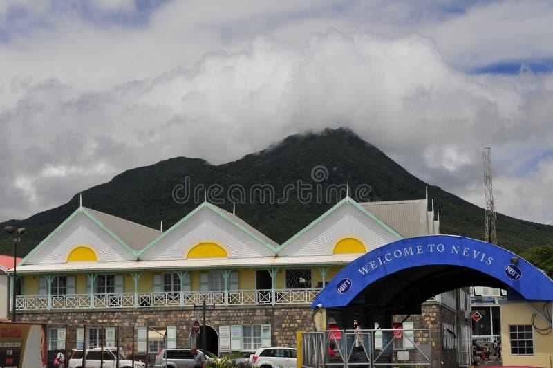 欢迎光临尼维斯岛,加勒比 免版税库存图片