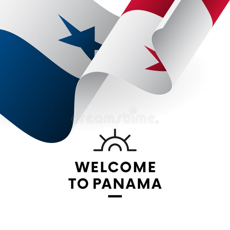 欢迎光临巴拿马 巴拿马旗子 爱国设计 也corel凹道例证向量 皇族释放例证