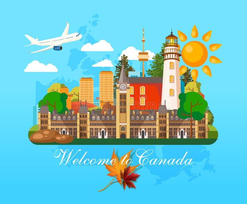 欢迎光临加拿大 明信片 加拿大传染媒介例证 减速火箭的样式 旅行明信片 向量例证