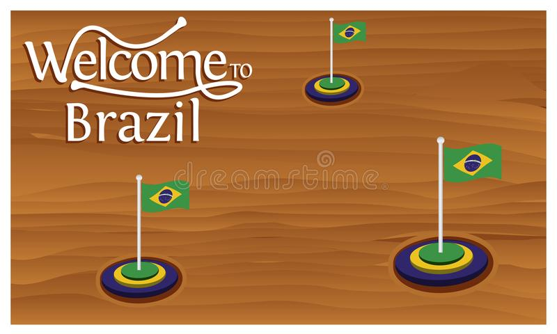 欢迎到与巴西旗子的巴西海报,时刻旅行巴西 查出的向量例证 皇族释放例证