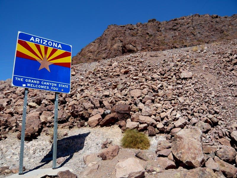 欢迎到亚利桑那标志 免版税库存照片