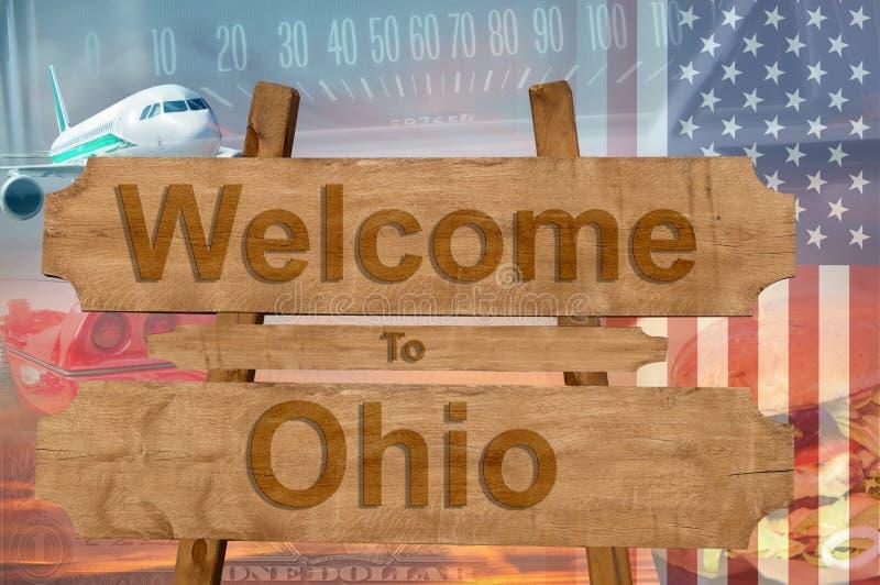 欢迎到俄亥俄状态在美国在木头, travell题材签字 库存照片