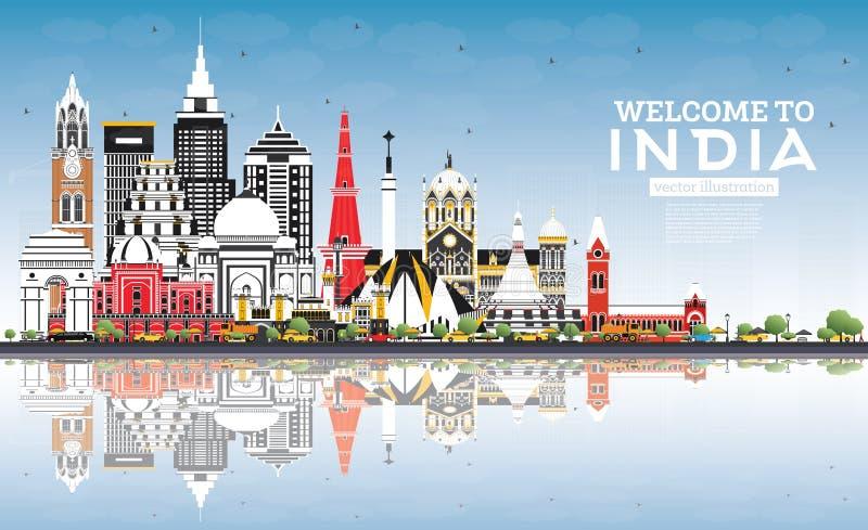 欢迎到印度与颜色大厦、天空蔚蓝和反射的市地平线 库存例证