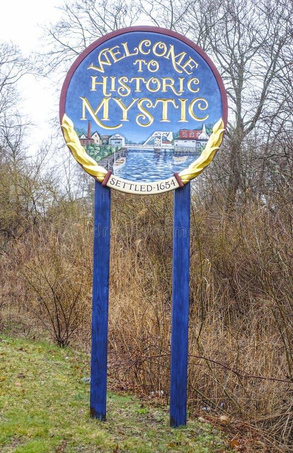 欢迎到历史的神秘主义者在康涅狄格-神秘主义者-康涅狄格- 4月6,2017 图库摄影