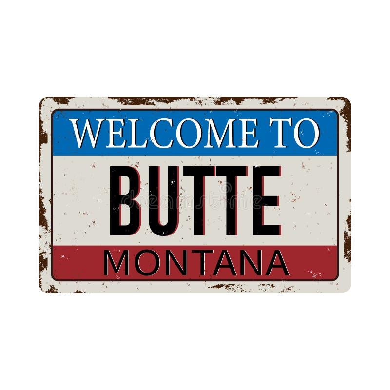 欢迎到在白色背景的小山蒙大拿葡萄酒生锈的金属标志,传染媒介例证 库存例证
