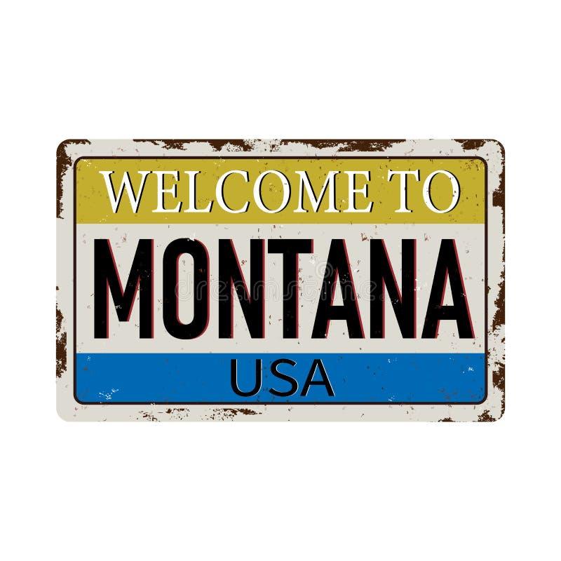 欢迎到在白色背景的蒙大拿葡萄酒生锈的金属标志,传染媒介例证 皇族释放例证