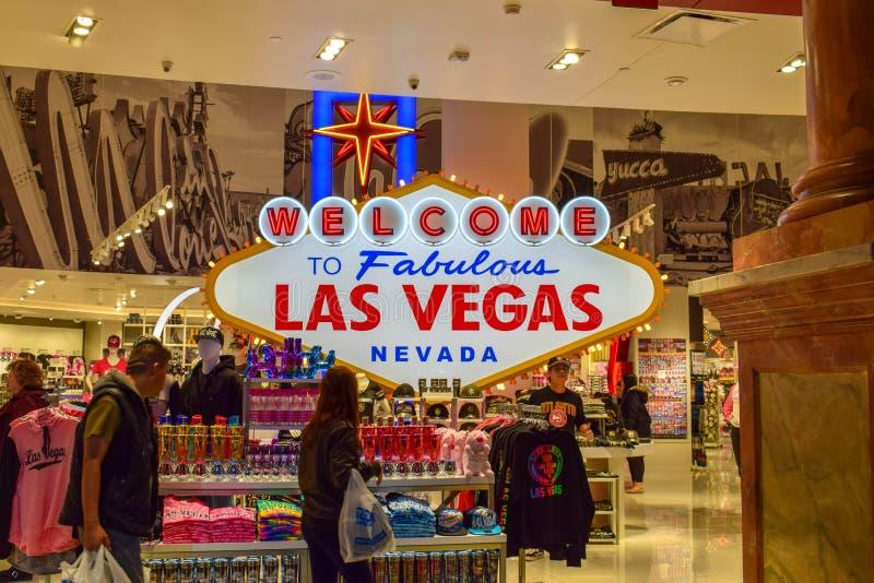 欢迎到在赌博娱乐场里面的美妙的拉斯维加斯内华达标志 免版税库存图片
