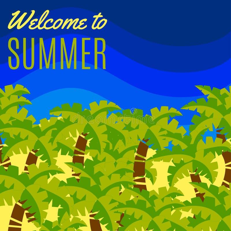 欢迎到夏天简单的平的明信片 皇族释放例证