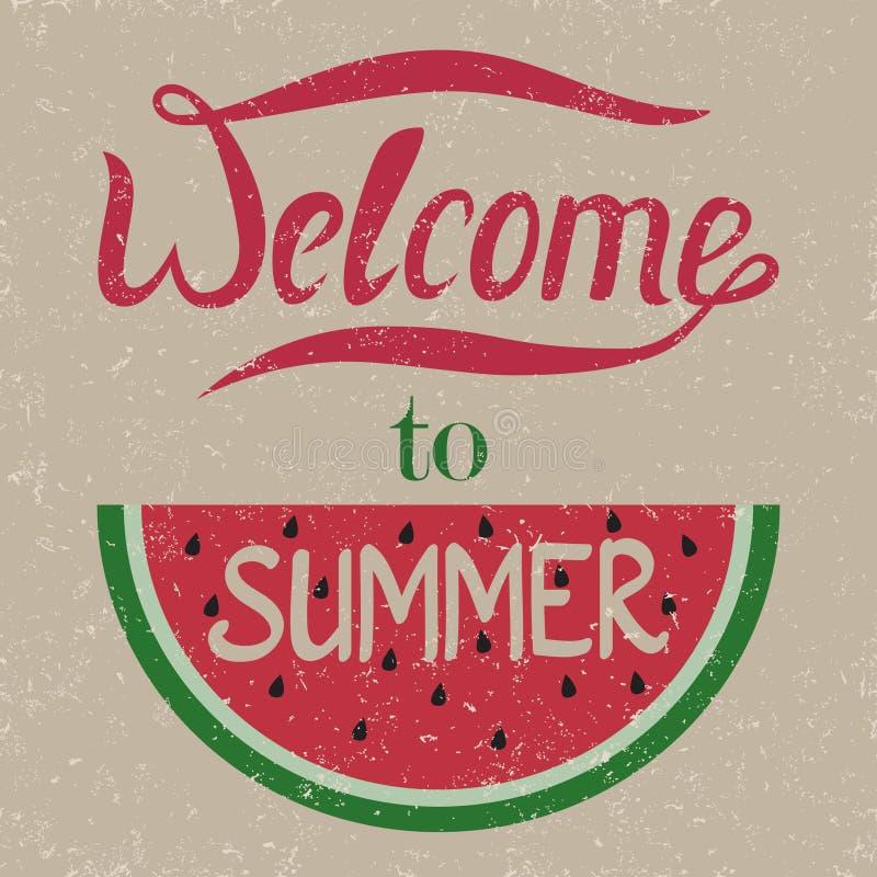 欢迎到夏天 信件在西瓜被雕刻 grunge v 库存例证