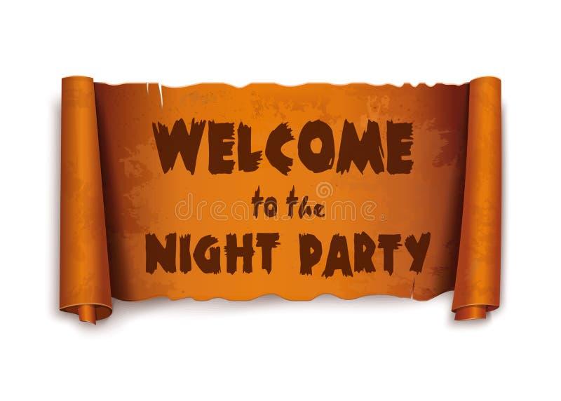 欢迎到夜党-在纸卷丝带的文本 皇族释放例证