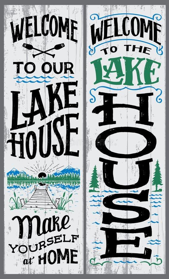 欢迎到我们的湖房子标志