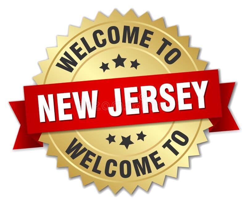 欢迎到新泽西徽章 皇族释放例证