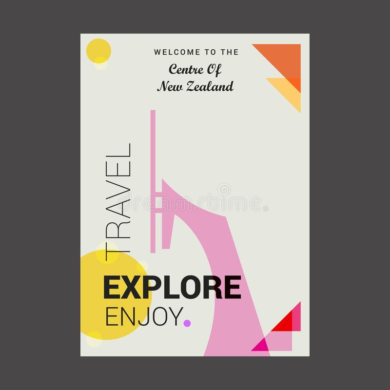 欢迎到新西兰的中心探索,移动享受岗位 向量例证