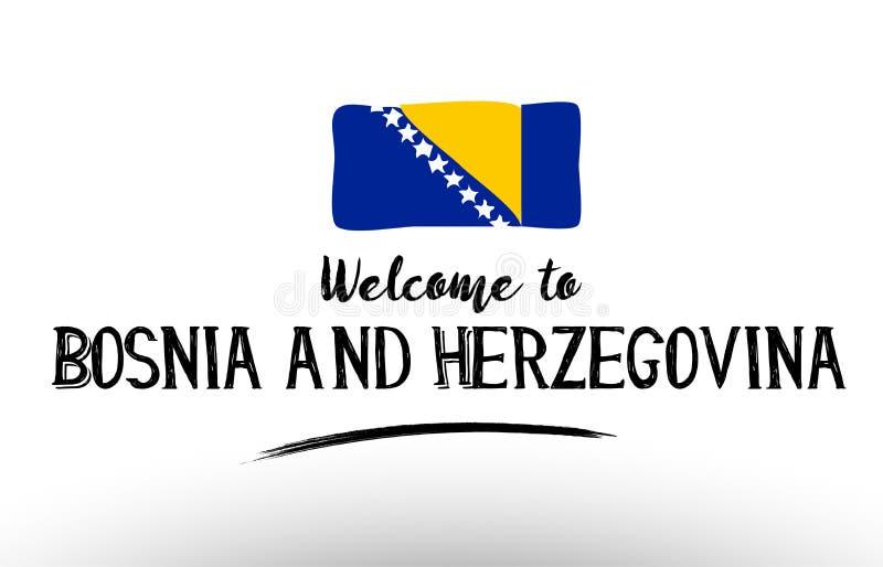 欢迎到波斯尼亚黑塞哥维那国旗商标卡片横幅 皇族释放例证