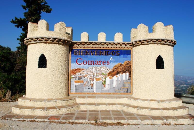 欢迎到科马雷斯标志 库存图片