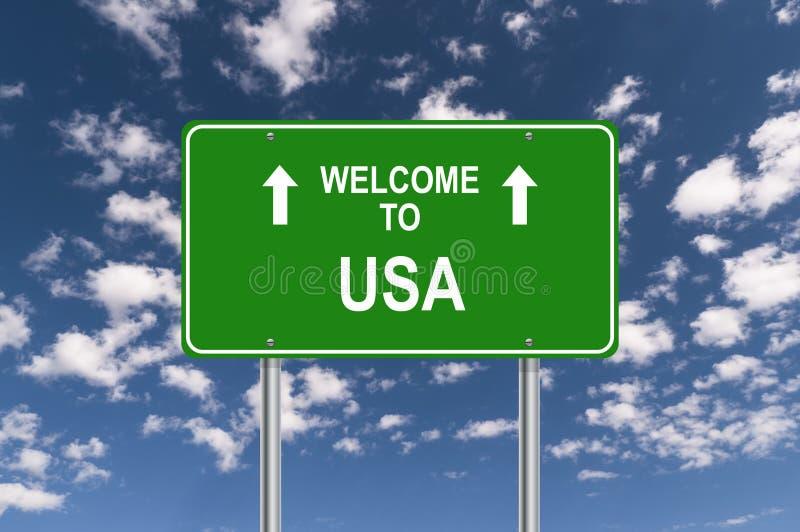 欢迎到美国交通标志 皇族释放例证