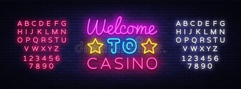 欢迎到赌博娱乐场标志传染媒介设计模板 赌博娱乐场霓虹商标,轻的横幅设计元素五颜六色的现代设计 库存例证