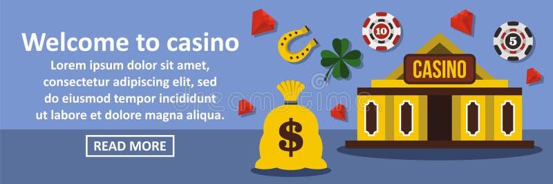 欢迎到赌博娱乐场横幅水平的概念 向量例证