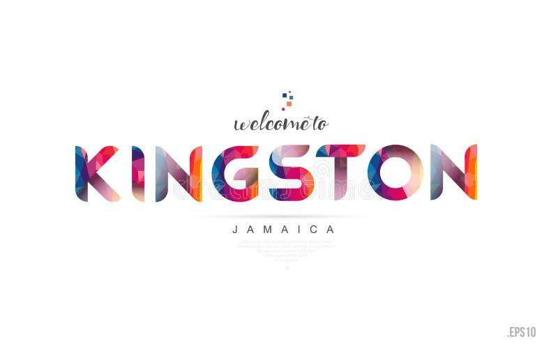 欢迎到金斯敦牙买加卡片和书信设计印刷术集成电路 向量例证