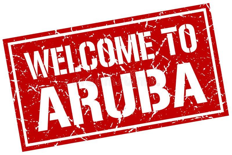 欢迎到阿鲁巴邮票 向量例证