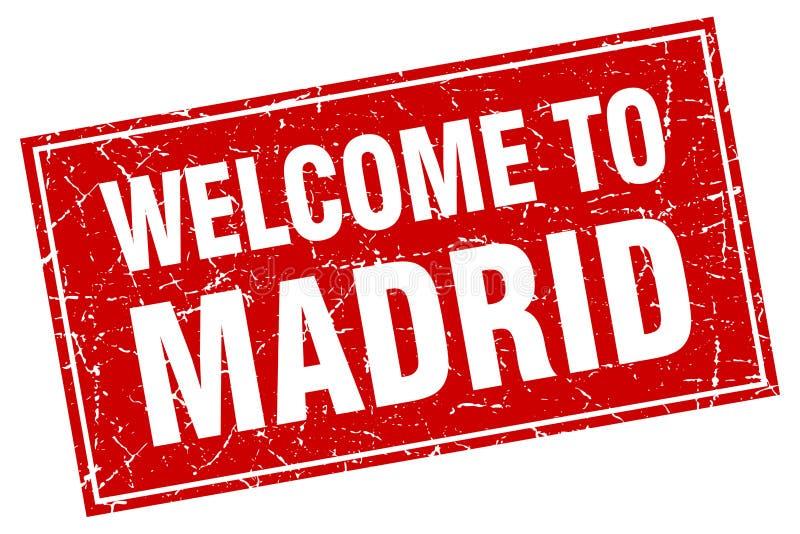 欢迎到马德里邮票 向量例证