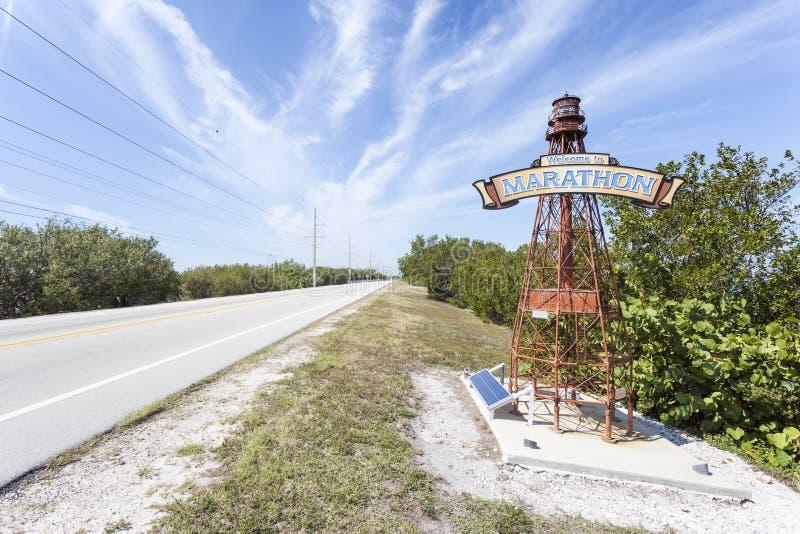 欢迎到马拉松钥匙灯塔,佛罗里达 库存图片