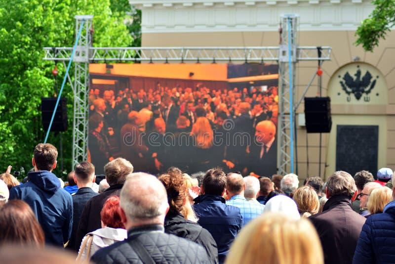 欢迎的人们欧洲理事会的总统 库存图片