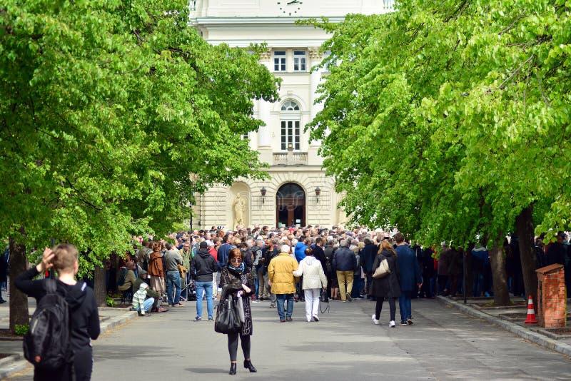 欢迎的人们欧洲理事会的总统 库存照片