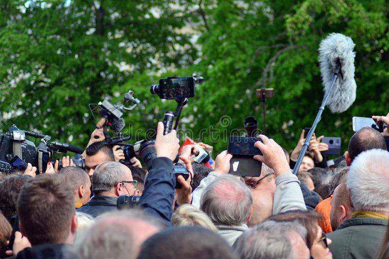 欢迎的人们欧洲理事会的总统 图库摄影